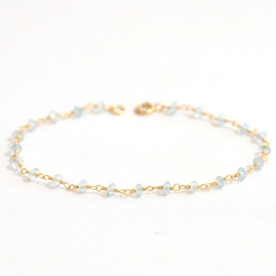18K Gold. Tiny Aquamarine Bracelet in 18KYG , Delicate Gold Bracelet, March Birthstone Jewelry, Holiday Gift for Her, Weddings,