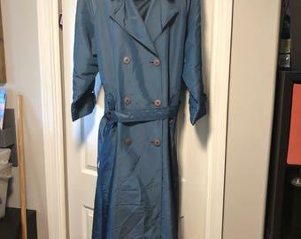 Misty Harbor Womens Sz 14 Blue Trench Coat Calf Length Vintage