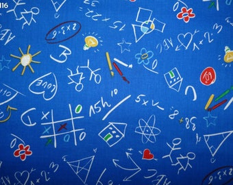 Fabric Z116 kid's drawings onto blue coupon 35x50cm