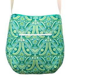 Green cloth bag made of cotton designer fabric with ornaments, Oriental shoulder bag, everyday bag, Goa, neon green, vegan, ethno.