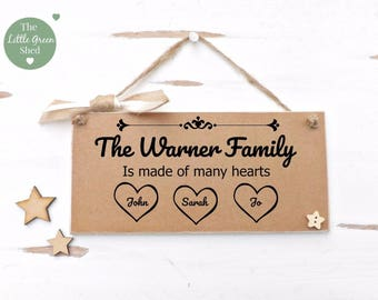 Family Name Plaque House warming Sign Vintage style Personalised Friend Keepsake