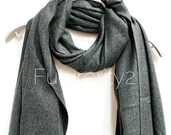 Dark Grey Cashmere Scarf /Autumn Winter Scarf /Gifts For Her /Gifts For Mother /Women Scarf/ Men Scarf /Accessories /Christmas Gifts