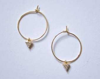 Kate -earrings (small halo hoop earrings with triangle cubic zirconia charm minimal every day 16K gold plated)