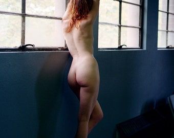 Artistic nude color film photographic print of a red-haired woman lomography wall art - Contemplations in color - 01