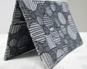 Fabric business card holder, gray geometric print
