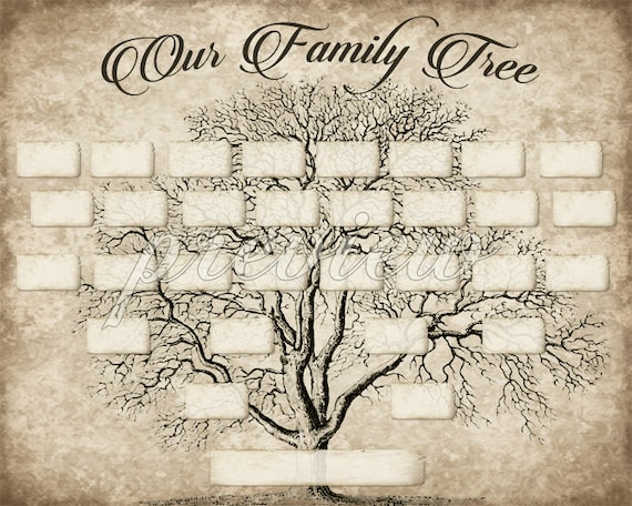 Custom Family Tree Printable 5 Generation Template Instant