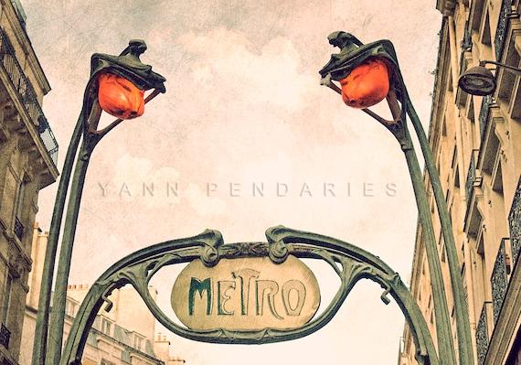 Metro Sign, Art Nouveau, Architecture, Paris wall decor, Paris Metro Photo, steampunk art, steampunk print, industrial decor
