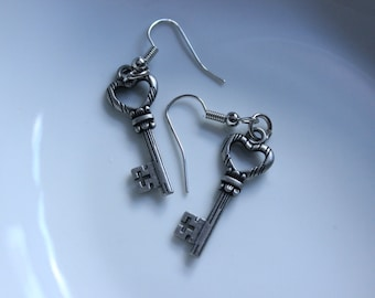 Silver Heart Skeleton Key Earrings