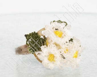 Oya Needle Lace Ring  - Three Dainty Daisies