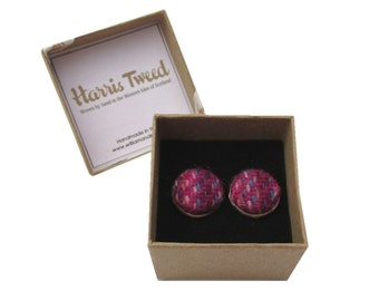 Harris Tweed Pink & Purple Handmade Boxed Cufflinks