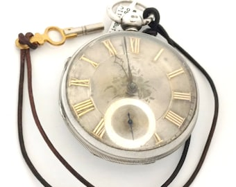 Antique 1853 Sterling Silver English Fusee Pocket Watch (WAT10134)