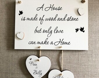 Home Plaque Gift Housewarming New Home Personalised Wooden W322