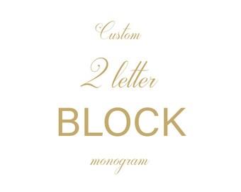 2 Letter Block Monogram