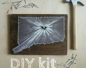 DIY Connecticut String Art Kit, State string Art kit, Connecticut Nail Art, Custom sign, Connecticut love, Connecticut home, 9x13