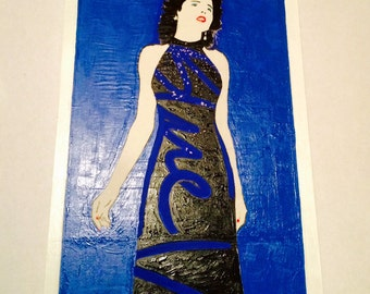 "BLUE VELVET     David Lynch    Hand Painted    Large Acrylic Painting on Heavy Hardboard     12"" X 28"""