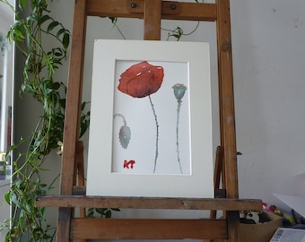 Original Watercolour: poppy, papaver Red