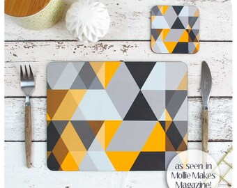 Scandi Geometric Placemat and Coaster - Grey and Yellow Triangles Table Setting - Scandi GIft - Scandinavian Modern Home Decor - Scandi Home