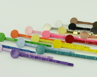 """50 - 2"""" Colorful Enamel Bobby Pins/Hair Pins with Glue Pads 8mm (Choose Your Colors) 2 Inch"""