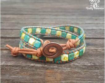 Boho Wrap Bracelet - Green Leather Bracelet - Southwestern Jewelry - Marbled Wrap Bracelet - Gift for Her - Boho Leather Wrap Bracelet