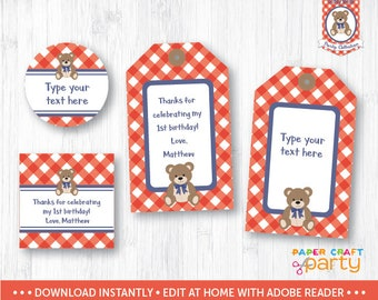 Teddy Bear Picnic Gift Tags - Printable Teddy Bear Hanging Gift Tags - Favor Tags - Red - Instant Download & Edit in Adobe Reader TB11