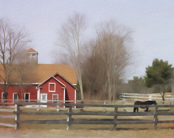 Horse and Red Barn, Bucolic Scene, Farm, Fence, Horse