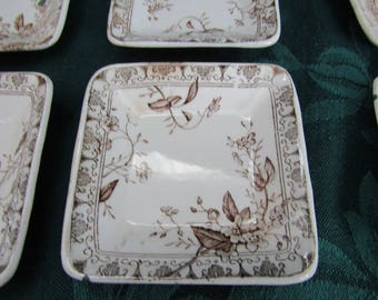 Vintage Parsian Granite   Butter Pats, Rosaline Pattern, T G & F Booth, England
