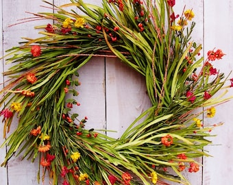 Spring Wreath-Spring Front Door Wreath-Spring Door Wreath-Grass Wreath-Floral Wreath-Summer Wreath-RUSTIC GRASS Floral Door Wreath-Wreaths