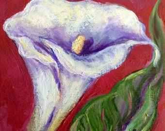 Cala lily painting flowers original floral painting 6 x 6""
