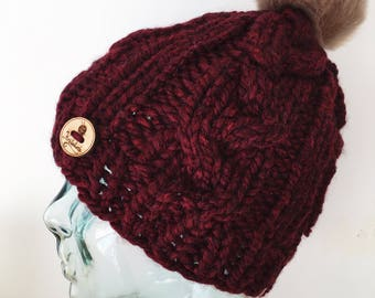 Chunky cabled burgundy hat with faux fur pom pom, cabled hat, red pom pom hat, toque, hat, cabled hat, winter hat, chunky faux fur pompom