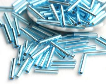 Aqua Blue Toho Bugle beads, size 3, Silver-Lined Aquamarine, N 23, 9mm beads, japanese glass beads - 10g - S080
