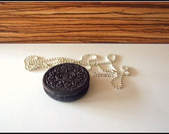 Handmade necklace with a Oreo cookie pendant - choose you favorite length (polymer clay/oreo jewelry/oreo necklace/oreo clay/ball chain)