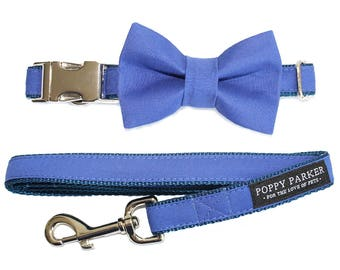 Royal Blue Dog Bow Tie - Optional Matching Dog Collar Dog Leash - Dog Of Honor Bow Tie Horizon Blue