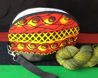 Quirky Monday Crafts Zipper Pouch, Crosshatch Ankara fabric, Knitting project bag, Crochet project bag, cosmetics bag, lined zipper bag