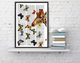 Springtime GIRAFFE with butterflies Art Print, Giraffe Decor, Giraffe Art, Giraffe Wall Decor, Giraffe butterflies ANI007