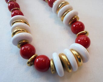 Vintage NAPIER Necklace Red & White Lucite Gold Tone Large Chunky Designer Retro Art Deco Statement Runway