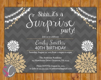 Floral Surprise Birthday Party Invite Party Lights Inviation Women's Chevron Burse 30th 50th 60th Any Age 5x7 Digital JPG file (515)