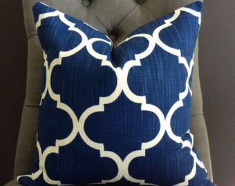 Pillow Cover, Blue and White Pillow, OWEN