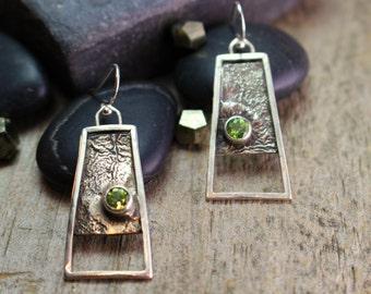Peridot & Reticulated Sterling Silver Earrings