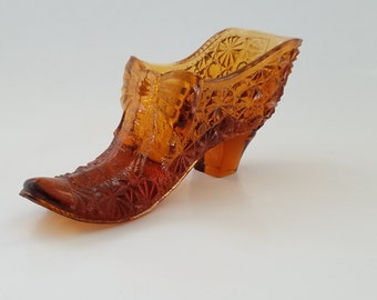 Fenton Glass Shoe Amber Button Bow Tie Daisy Slipper