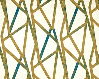 Two 20 x 20  Custom Designer Decorative Pillow Covers  - Gorder Intersection Peackock - Geometric Lines - Teal Wheat