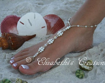 Barefoot Sandal - Pearls & Crystals Barefoot Sandal, Destination Wedding, Beach Bridal Shoes, Beach Wedding, Beach Bridal Sandals