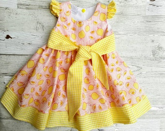Pink Lemonade Dress - Baby Girl Dress - Summer Dress -   Baby Dress - Yellow - Toddler Girl Dress - Birthday dress - Photo prop - Cake Smash
