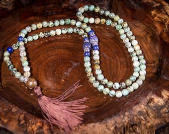 African Turquoise - Mala - Mala Necklace - Yoga - Meditation - Prayer Beads - Turquoise - Mala Beads - Yoga Jewelry -Buddhist -Mala Bracelet