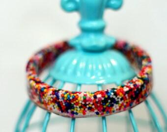 Rainbow Sprinkle Bangle Bracelet - Sprinkle Jewelry - Sprinkle Candy - Arm Candy
