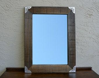 Reclaimed Wood Lareg Wall Mirror with Metal Silver Corners. Rustic Bathroom Mirror. Large Wall Mirror. Reclaimed Wood. Farmhouse Mirror. L