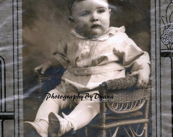 Vintage Photograph Matted Baby Boy on Wicker Chair