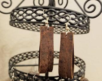 Leather split loop earrings