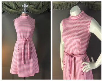 60s dress 1960s vintage PINK WHITE BUTTON woven texture fit and flare A line mod dress