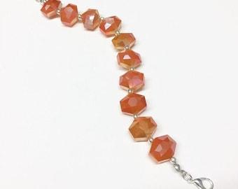 Iridescent Tangerine Glass Bracelet