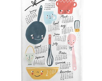 Tea Towel Calendar Set - Kitchen Friends 2018 by Anda - Kitchen Baking Calendar Linen Cotton Tea Towel Set by Roostery Spoonflower